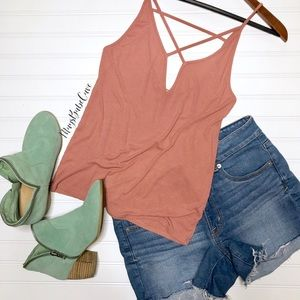 EXPRESS Blush Ribbed Strappy Fitted Tank Top